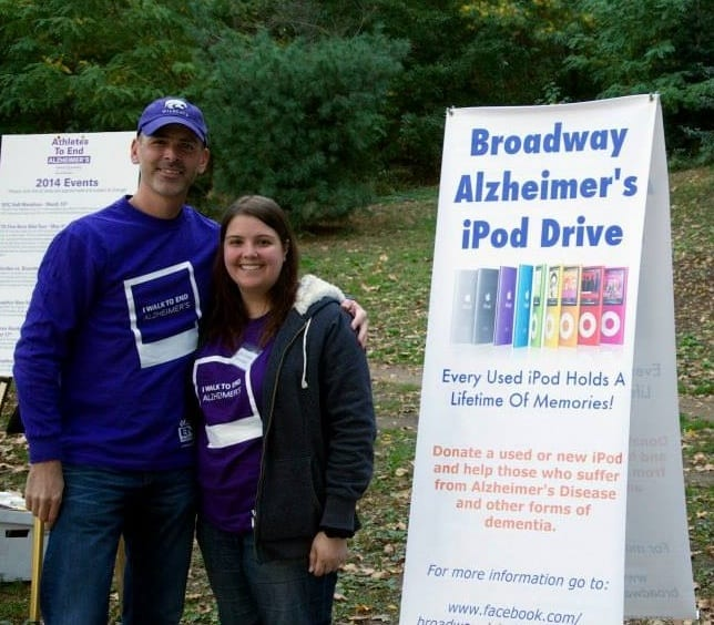 Alexis Gregos, Community Outreach Coordinator, with Dave Ross of the Broadway Alzheimer's iPod Drive
